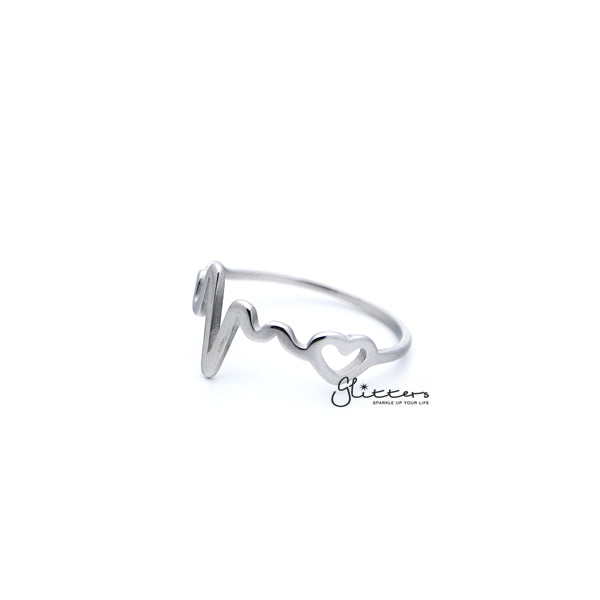 Stainless Steel Heartbeat and Heart Women's Rings