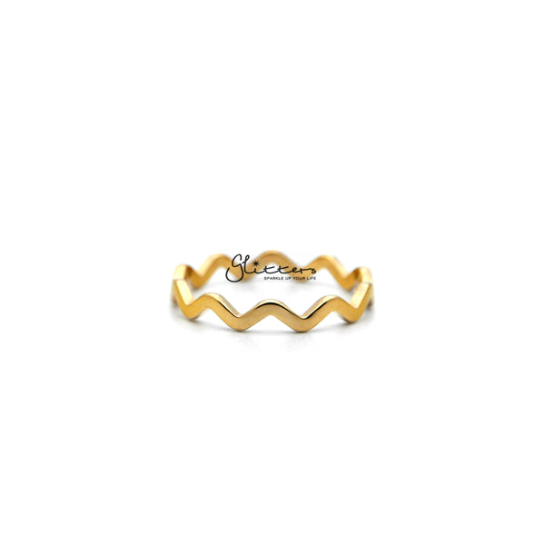 18K Gold Plated over Stainless Steel Wavy Women's Rings-Glitters-New Zealand