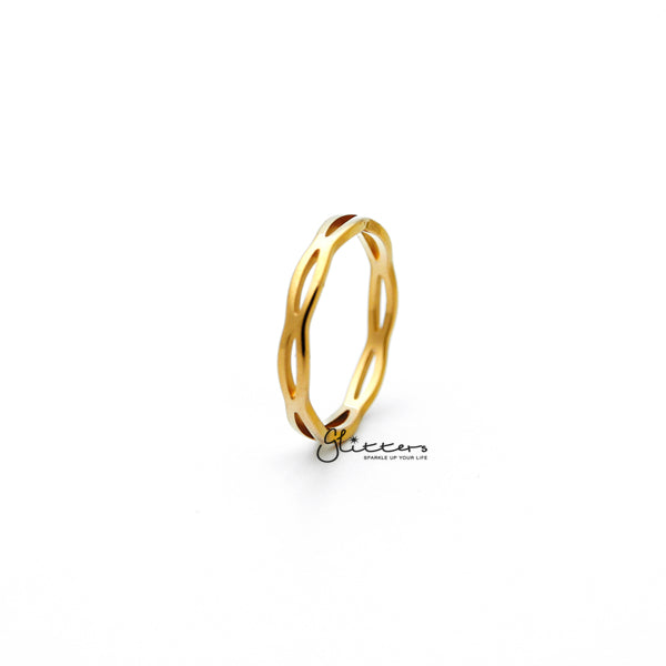 18K Gold Plated over Stainless Steel Overlapping Wavy Women's Rings