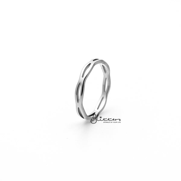 Stainless Steel Overlapping Wavy Women's Rings