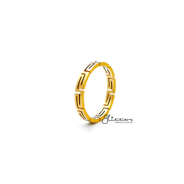 18K Gold Plated over Stainless Steel Greek Key Women's Rings-Glitters-New Zealand