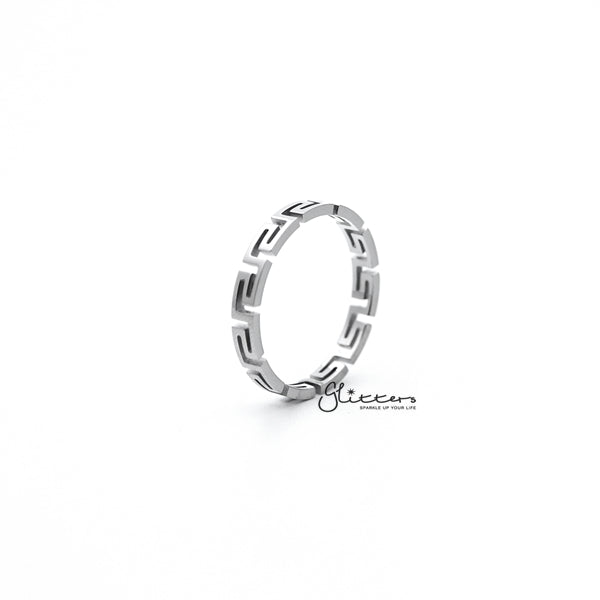 Stainless Steel Greek Key Women's Rings