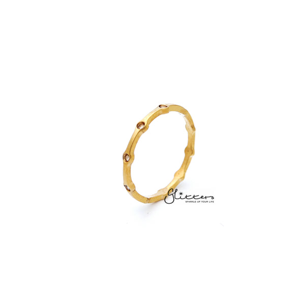 18K Gold Plated over Stainless Steel CZ Dots Women's Rings