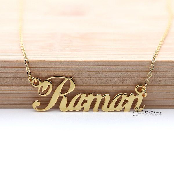 Personalized 24K Gold Plated Sterling Silver Name Necklace-Script 6