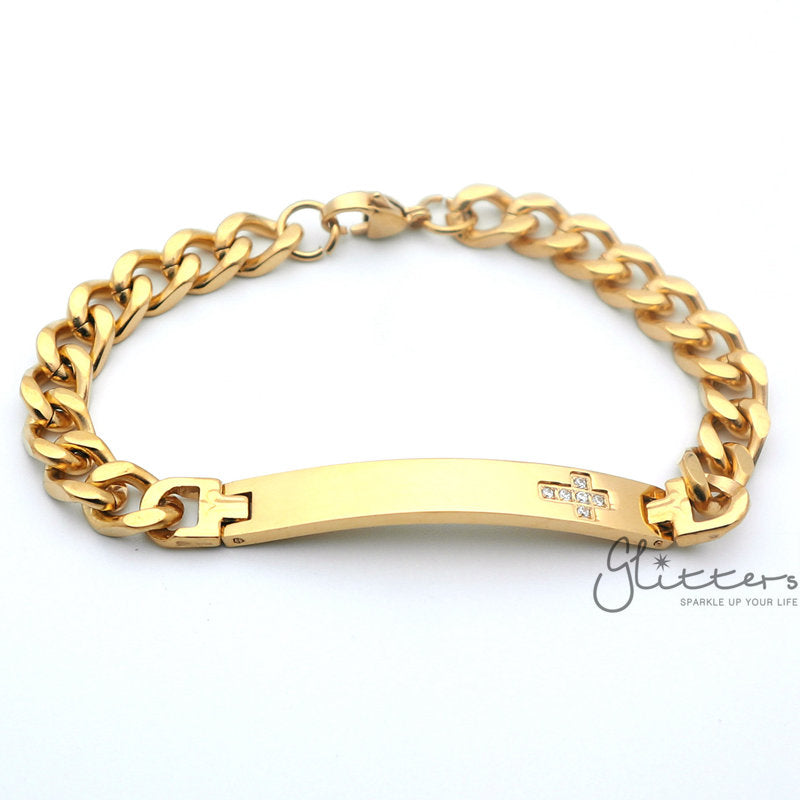 18K Gold Plated Stainless Steel Men's ID Bracelet with Cubic Zirconia Cross+Engraving-Glitters-New Zealand