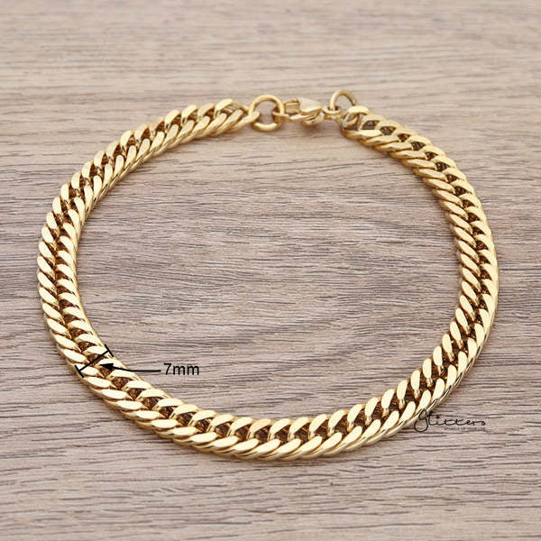 18K Gold I.P Stainless Steel Curb Link Chain Bracelet - 7mm Width-Glitters-New Zealand