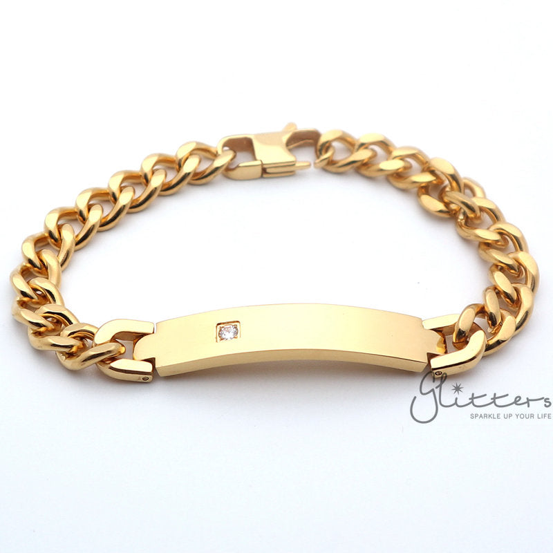 18K Gold Plated Stainless Steel Men's ID Bracelet with A Cubic Zirconia Stone + Engraving-Glitters-New Zealand