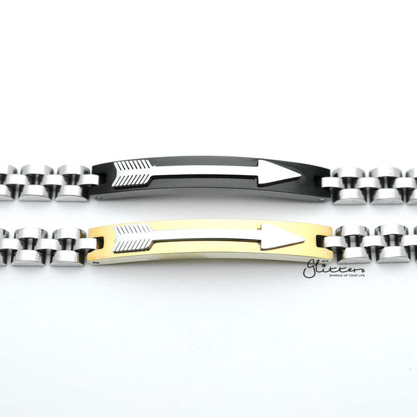 Stainless Steel Tow Tone Arrow ID Men's Bracelets - Gold | Black