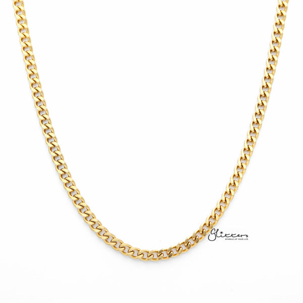 18K Gold I.P Stainless Steel Curb Chain Men's Necklaces - 4.5mm width | 61cm length-Glitters-New Zealand