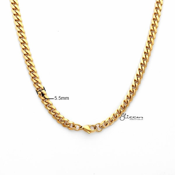 18K Gold I.P Stainless Steel Beveled Cuban Chain Men's Necklaces - 5.5mm width | 61cm length-Glitters-New Zealand