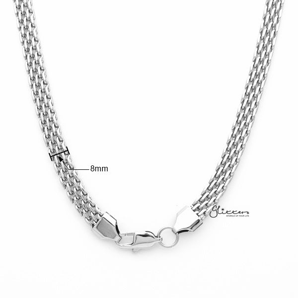 Stainless Steel Multi Link Chain Men's Necklaces - 8mm width | 61cm length-Glitters-New Zealand