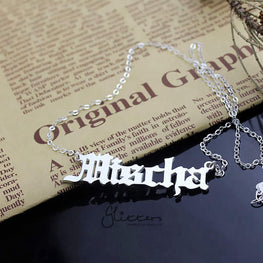 Personalized Sterling Silver Name Necklace-Old English