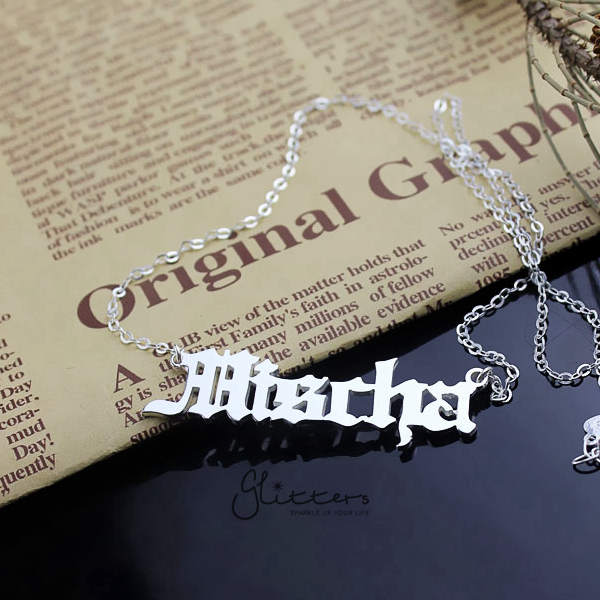 Personalized Sterling Silver Name Necklace-Old English-Glitters