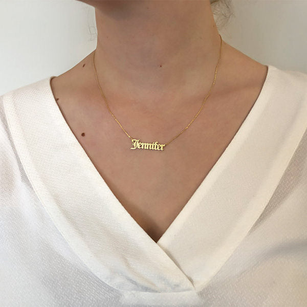 Personalized 24K Gold Plated Sterling Silver Name Necklace-Old English-Glitters-New Zealand