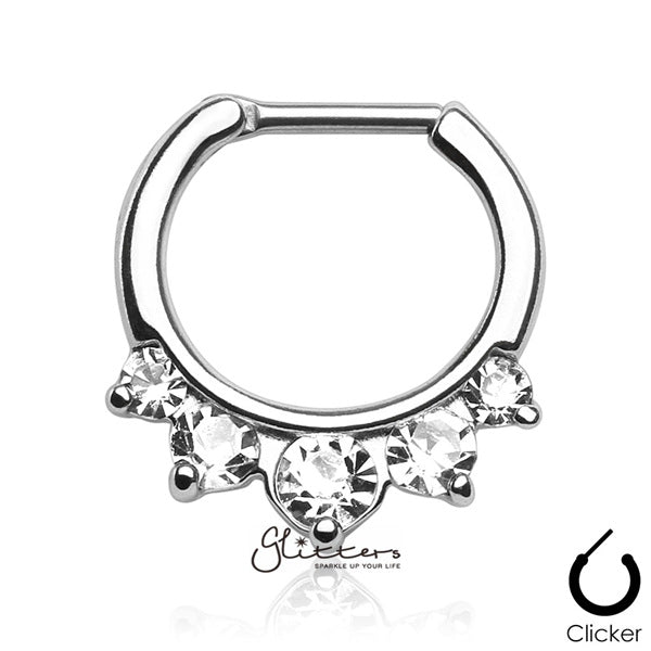 316L Surgical Steel Five Pronged Gems Septum Clicker-Clear-Glitters-New Zealand