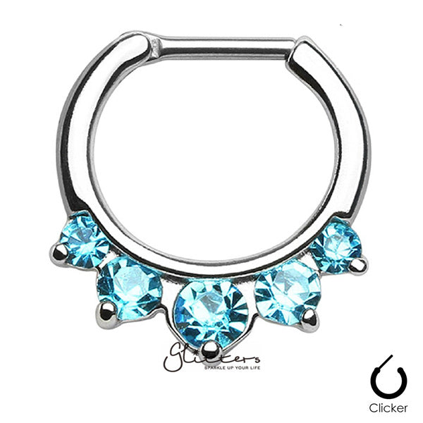316L Surgical Steel Five Pronged Gems Septum Clicker-Aqua-Glitters-New Zealand