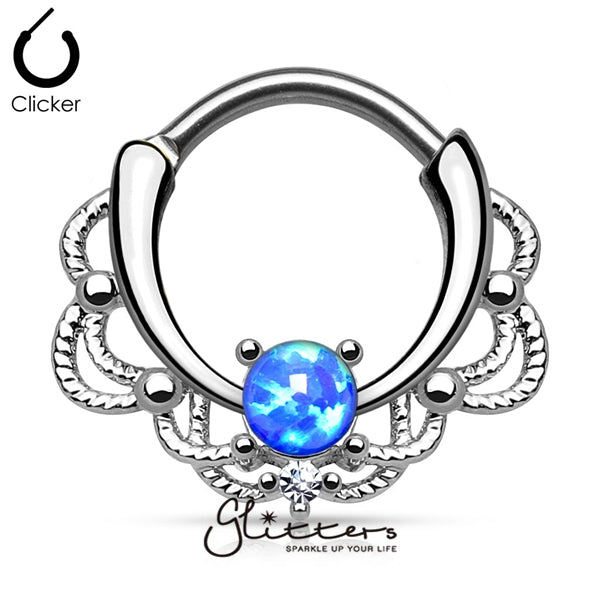 Single Blue Opal Lacey Decoration Septum Clicker Ring-Glitters