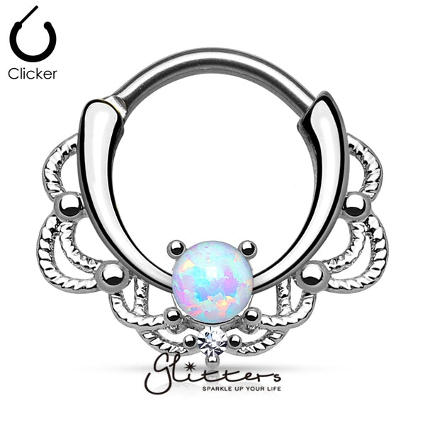 Single White Opal Lacey Decoration Septum Clicker Ring-Glitters-New Zealand