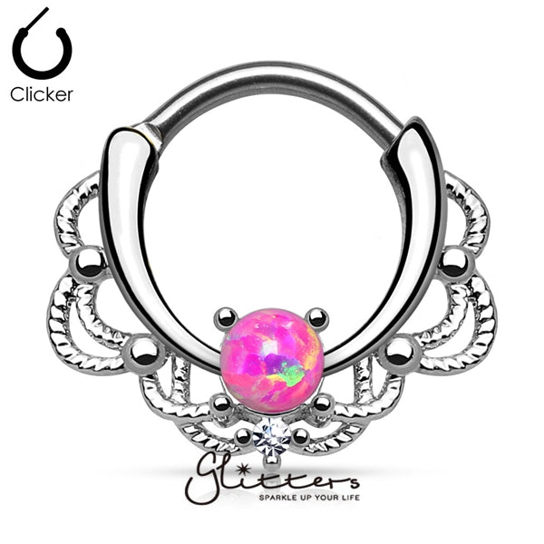 Single Pink Opal Lacey Decoration Septum Clicker Ring-Glitters