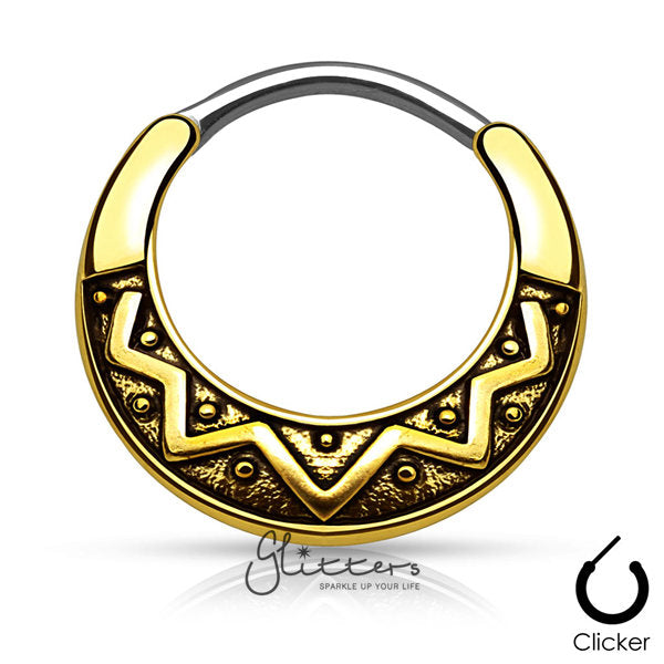 Tribal Fan Design Surgical Steel Round Septum Clicker-Antique Gold-Glitters