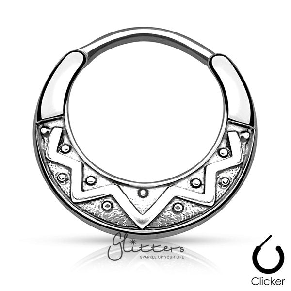 Tribal Fan Design Round Surgical Steel Septum Clicker-Rhodium-Glitters