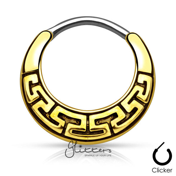 Maze Tribal Fan Design Surgical Steel Round Septum Clicker-Antique Gold-Glitters