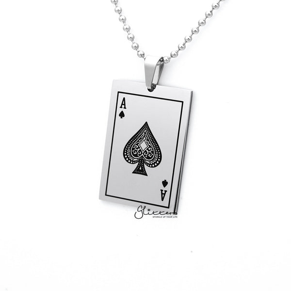 Stainless Steel Ace of Spades Card Pendant Men's Necklace