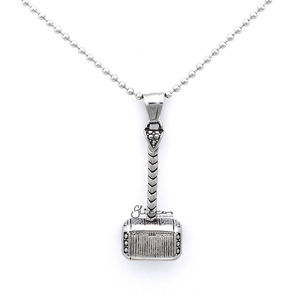 Men's Stainless Steel Thor's Hammer Quake Pendant Necklace