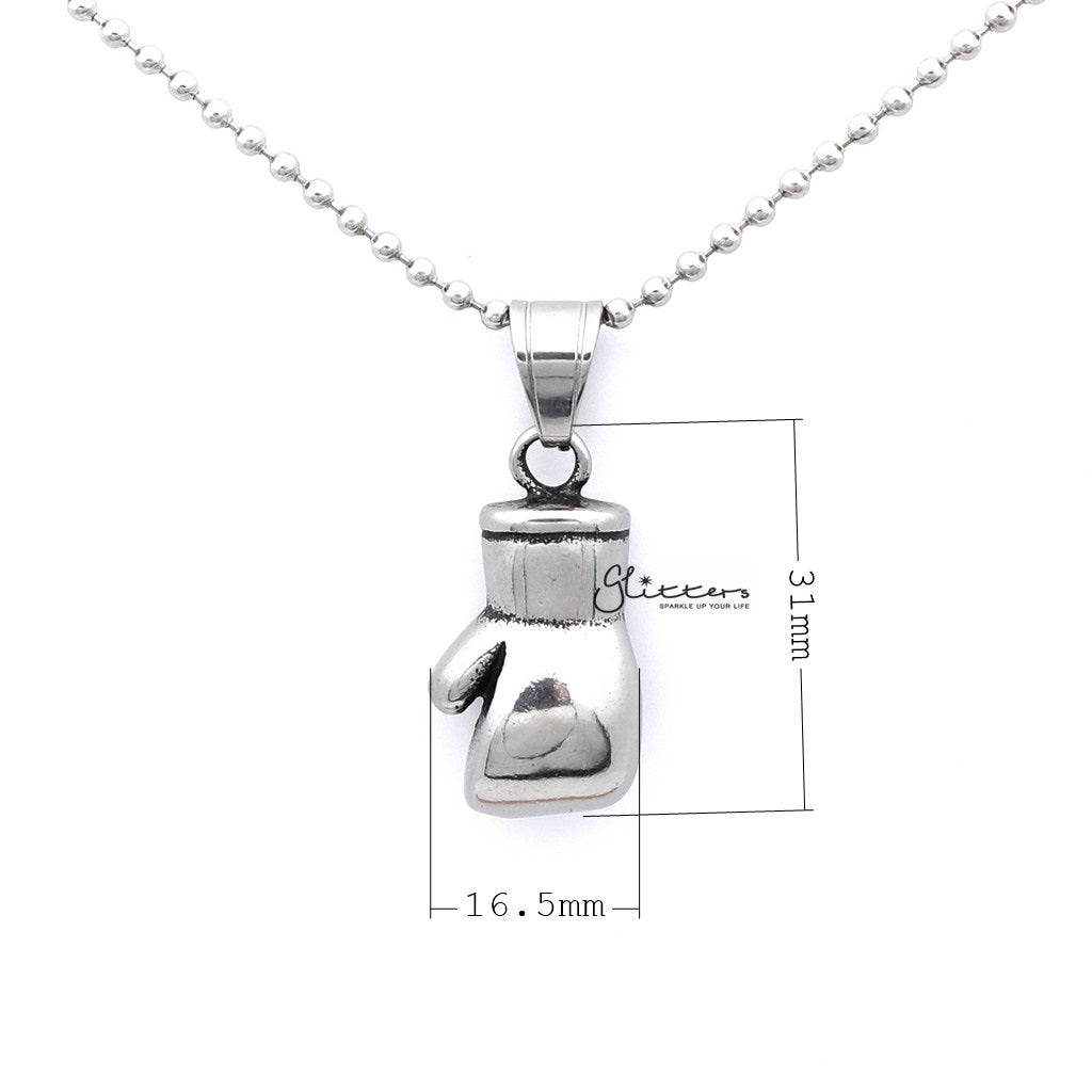 Men's Stainless Steel Boxing Glove Pendant Necklace-Glitters-New Zealand