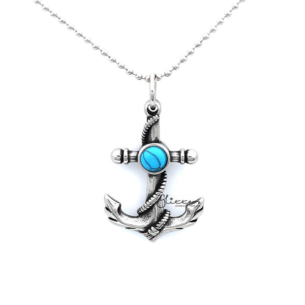 Men's Stainless Steel Anchor and Rope Pendant with Turquoises Necklace