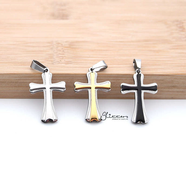 Stainless Steel Double Layer Cross Pendant Men's Necklaces