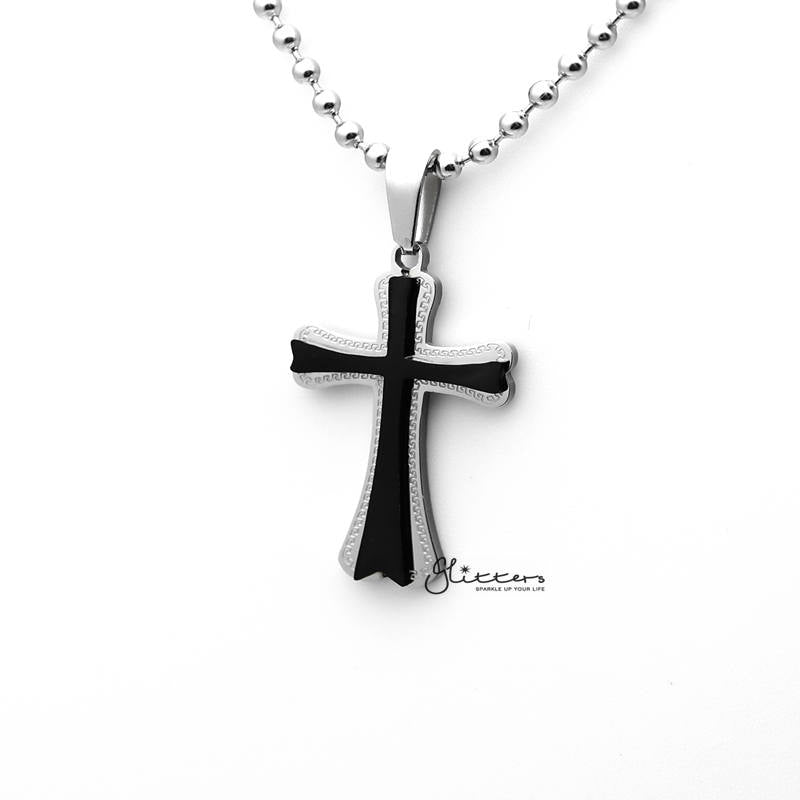 Stainless Steel Double Layer Cross Pendant Men's Necklaces-Glitters-New Zealand