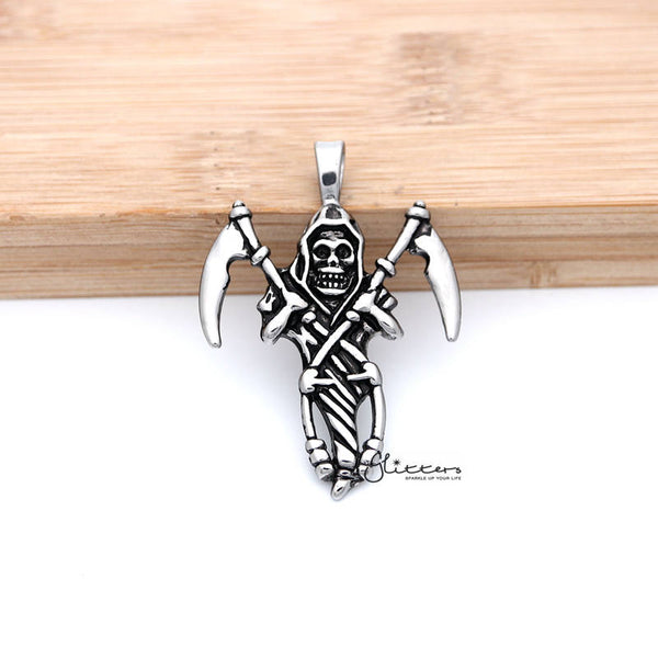 Stainless Steel Antiqued Grimm Ripper Skeleton Skull Pendant Men's Necklace