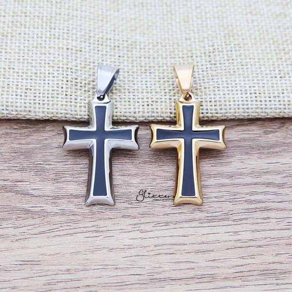 Stainless Steel Two Tone Cross Pendant Men's Necklaces-Glitters-New Zealand