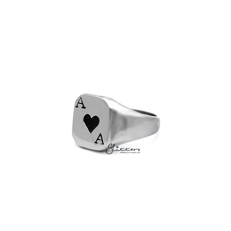 Stainless Steel Hearts Ace Casting Men's Rings-Glitters-New Zealand