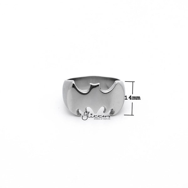 Stainless Steel Glossy Batman Casting Men's Rings - Silver