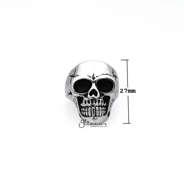 Antiqued Stainless Steel Classic Skull Head Casting Men's Rings-Glitters-New Zealand