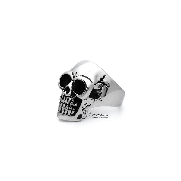 Antiqued Stainless Steel Classic Skull Head Casting Men's Rings