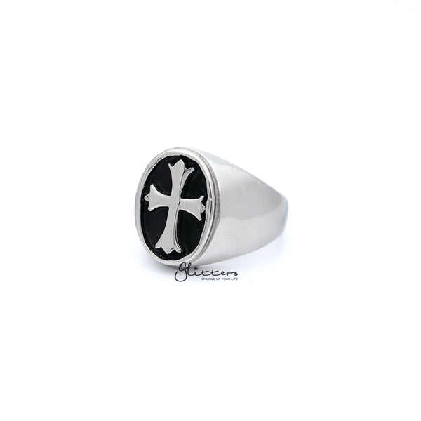 Stainless Steel Cross Oval Shape Casting Men's Rings