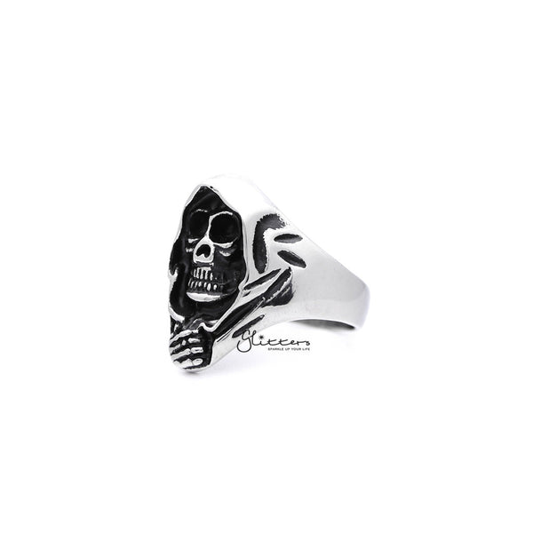 Men's Antiqued Stainless Steel Grimm Ripper Skeleton Skull Casting Rings