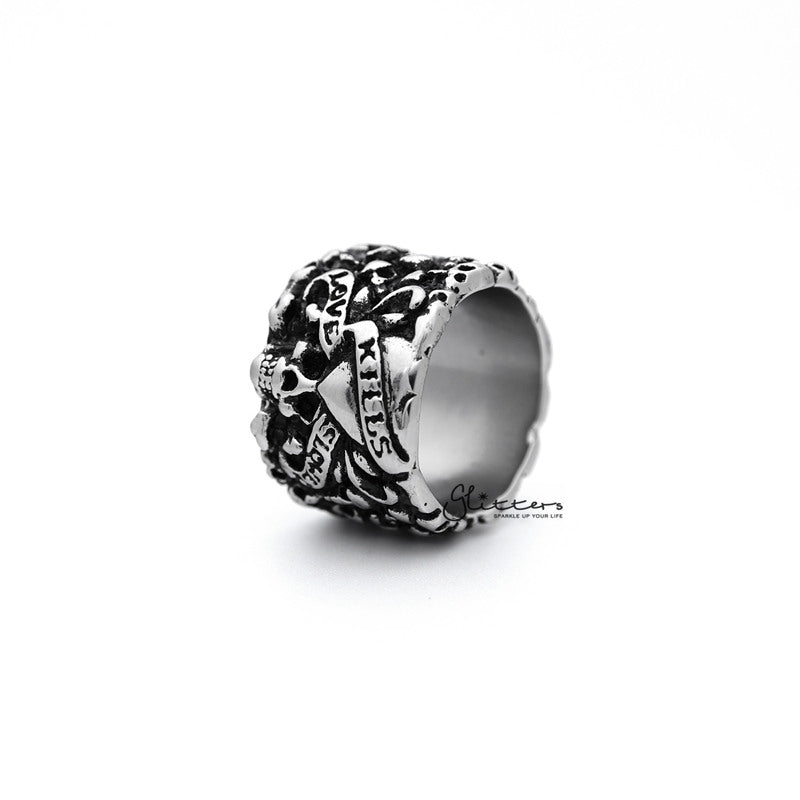 Stainless Steel Retro Skulls with Heart Pattern Casting Men's Rings-Glitters-New Zealand