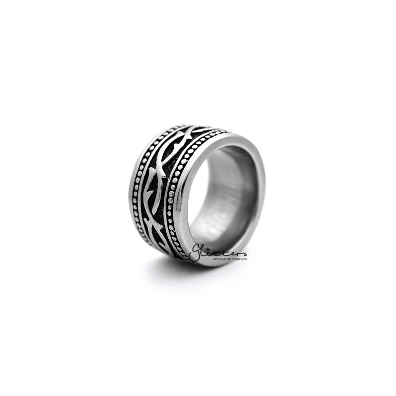 Stainless Steel Retro Gothic Pattern Casting Men's Rings-Glitters-New Zealand