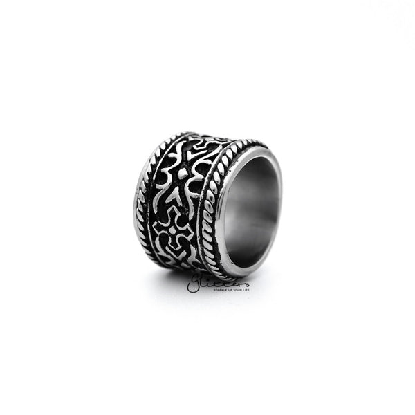 Stainless Steel Retro Gothic Cross Pattern Casting Men's Rings