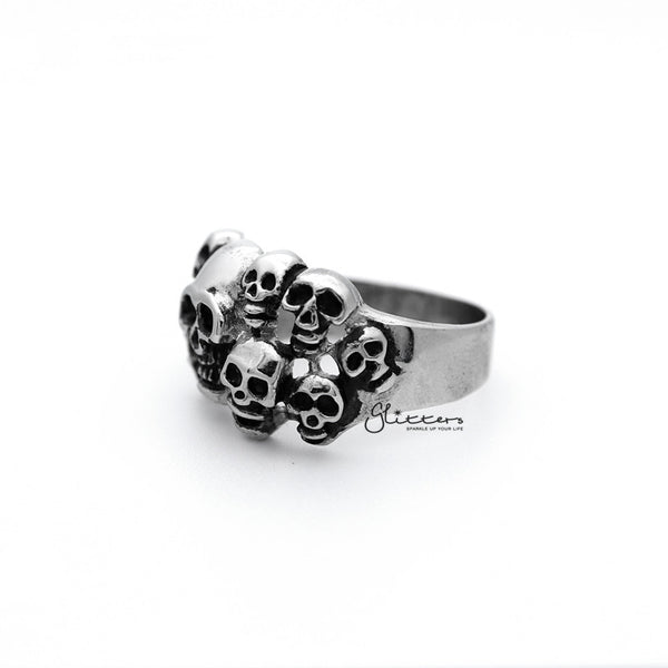 Stainless Steel Antiqued Multi Skull Heads Casting Men's Rings