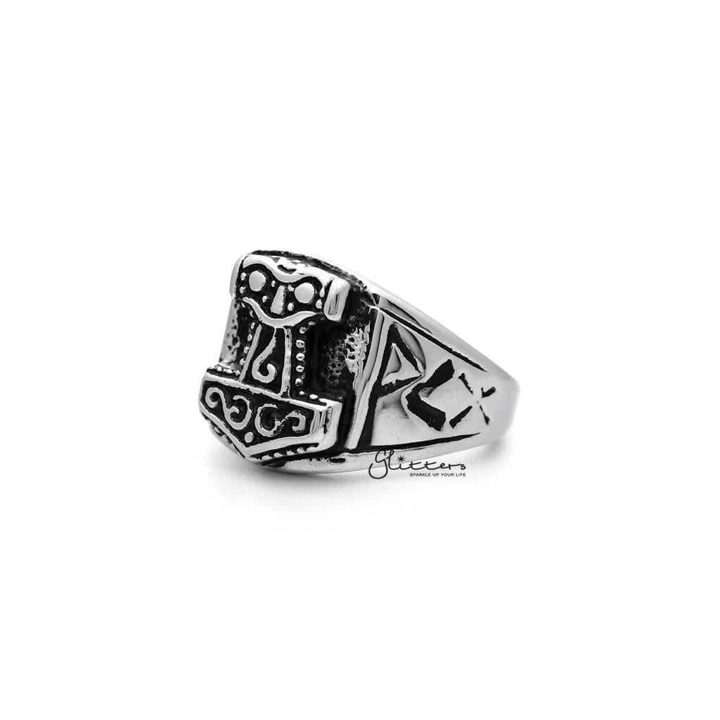 Antiqued Stainless Steel Thor Casting Men's Rings-Glitters-New Zealand