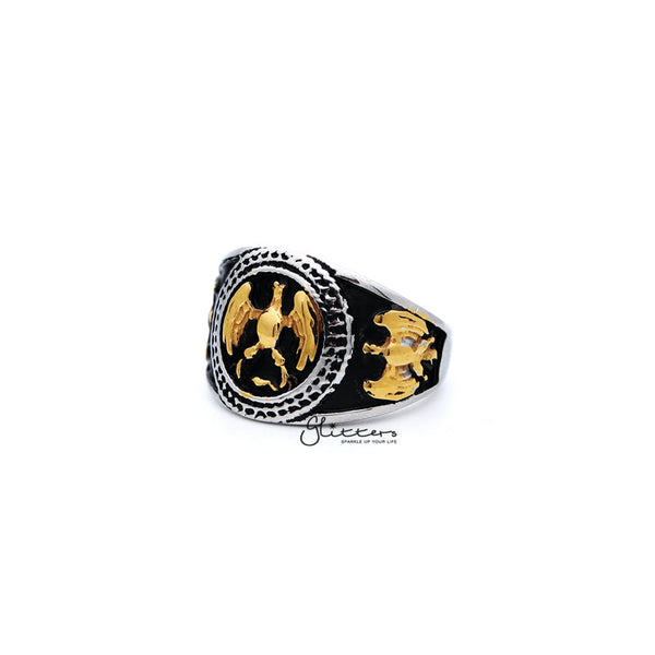 Men's Antiqued Stainless Steel Two Tone Eagle Casting Rings