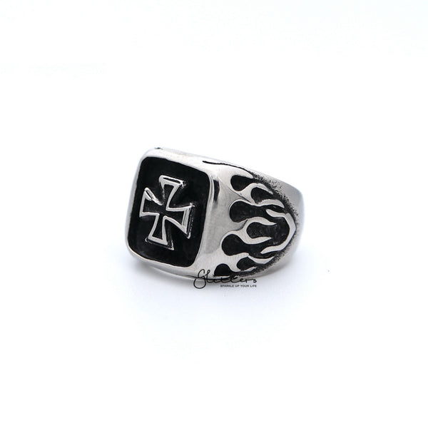 Stainless Steel Antiqued Cross with Fire Casting Men's Rings