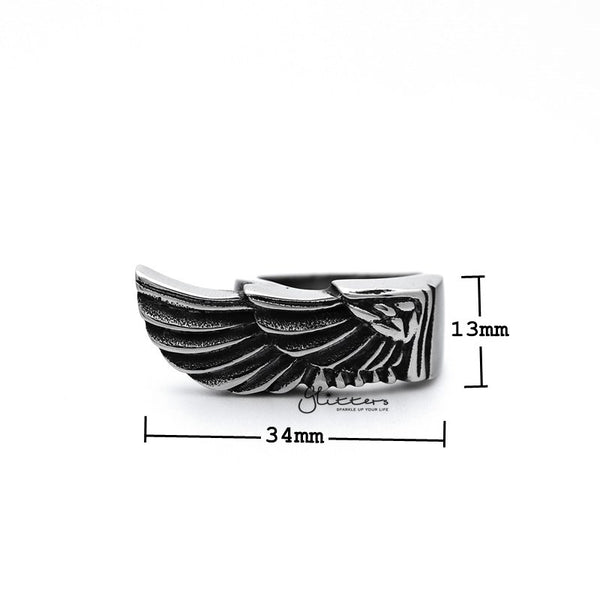 Stainless Steel Antiqued Angel Wing Casting Men's Rings