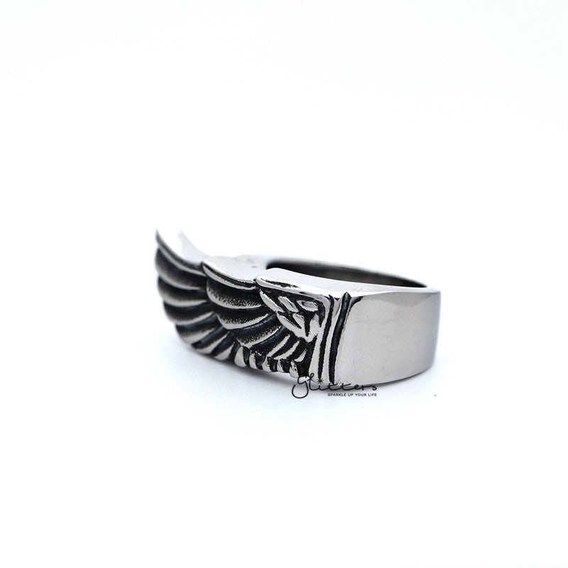 Stainless Steel Antiqued Angel Wing Casting Men's Rings-Glitters-New Zealand