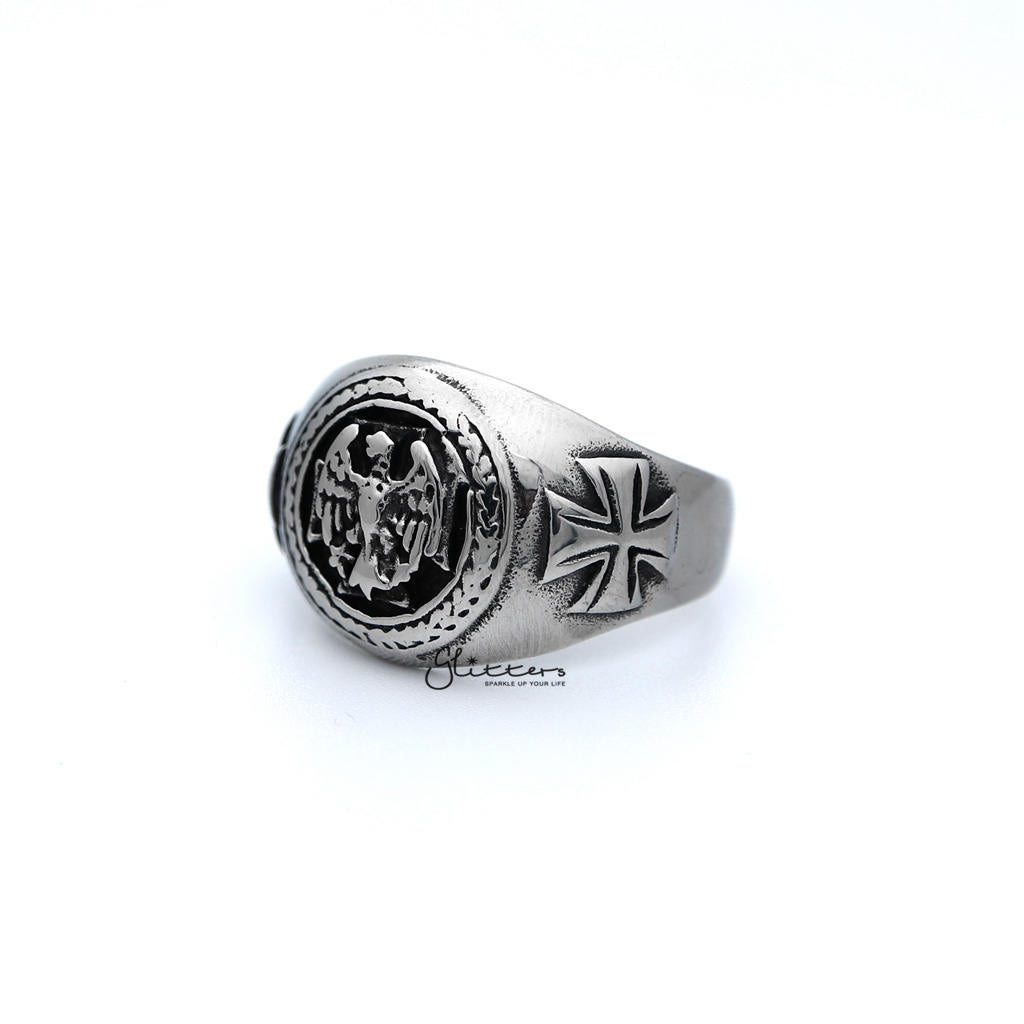 Men's Antiqued Stainless Steel Eagle Casting Rings-Glitters-New Zealand